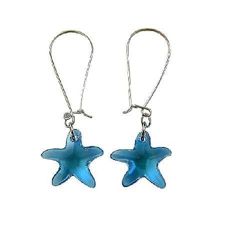 Crystal Fish Jewelry Aquamarine Star Fish Crystal Silver Hoop Earrings