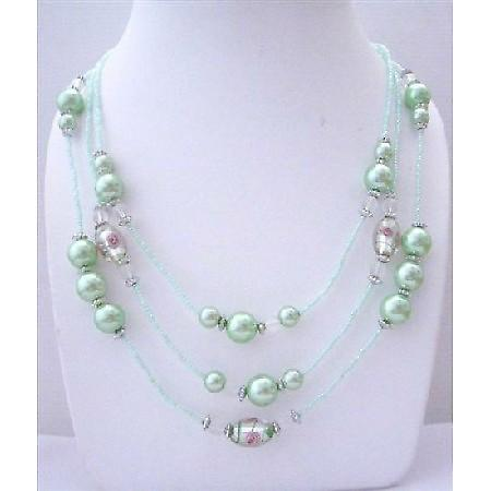 Light Green Multi Beaded 3 Strands Necklace pink Pearl Millefiori Painted Beads 20 Inches Long Necklace