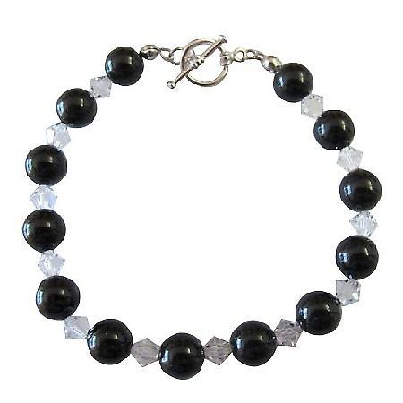 Mystic Pearls Clear Crystals Bracelet Swarovski Crystal Pearl Jewelry