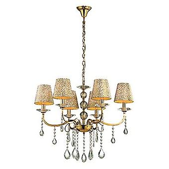 Ideal Lux - Pantheon Gold Finish Six Light Chandelier With Glass IDL088068