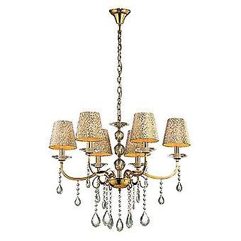 Idealne Lux - Pantheon złocone sześciu Light Świecznik ze szkła IDL088068