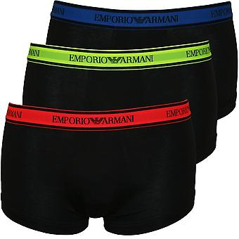 Emporio Armani 3-Pack Neon cintura Logo Lettering Boxer Costume, nero