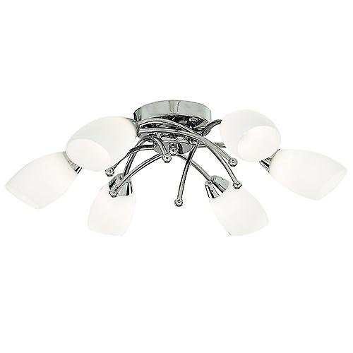 Searchlight 8186-6CC Opera Modern Chrome Ceiling Flush 6 Light With Opal Glass
