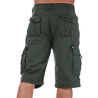 Mens Crosshatch Black Label Chaseforth Cargo Shorts In Olive- Button Fastening-