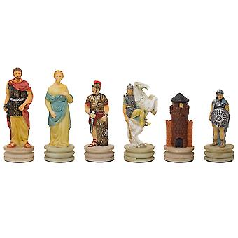 The Romans Vs Greeks hand painted chess pieces by Italfama