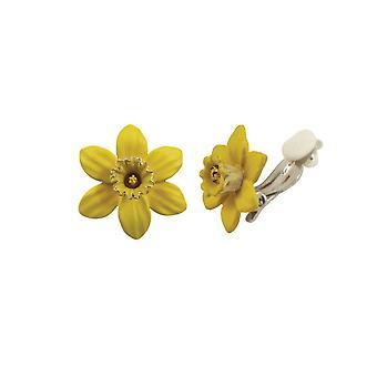 Eterno Narciso de colección con trompeta amarillo esmalte tono plata Petite Stud Clip en pendientes