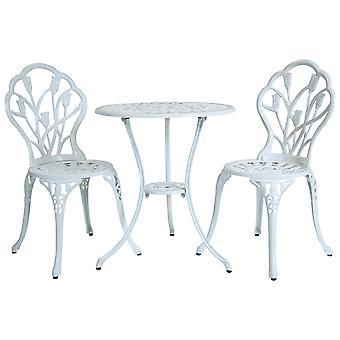 Charles Bentley 3 Piece Tulip Cast Aluminium Patio Bistro Set Table & 2 Chairs