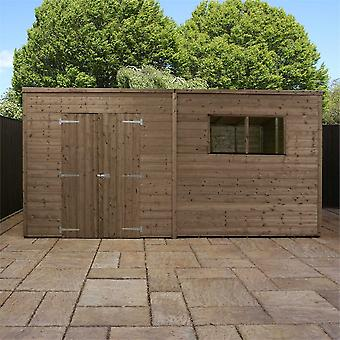Mercia Pressure Treated Timber Pent Tongue and Groove Garden Shed Workshop