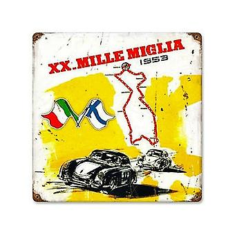 Mille Miglia Rusted Metal Sign 300Mm X 300Mm (Pst 1212)