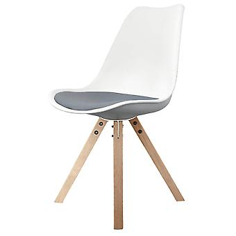 Fusion Living Eiffel Inspired White And Dark Grey Dining Chair With Square Pyramid Light Wood Legs