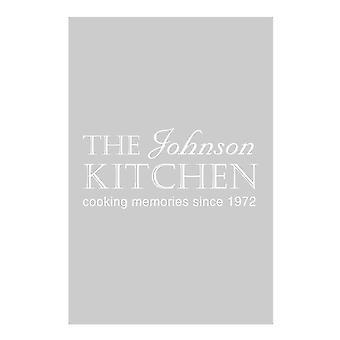Personligt kök namn datum grå kökshandduk