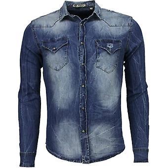 Denim shirt-Slim Fit long sleeves men-Basic Denim-Blue