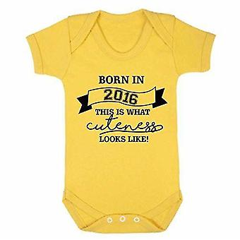 Cutness looks like 2016 yellow short sleeve babygrow