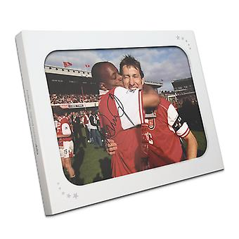 Ian Wright Signed Arsenal Photo: 1998 League Winners In Gift Box