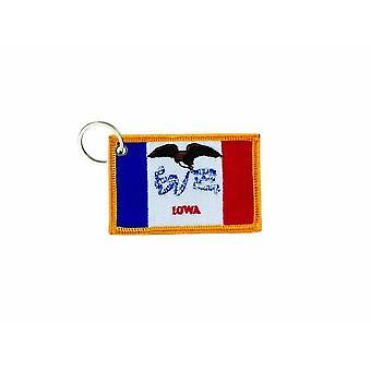Porte Cle Cles Clef Brode Patch Ecusson Badge Drapeau Iowa USA Americain