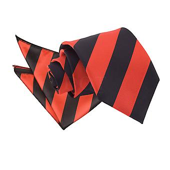 Men's Striped Red & Black Tie 2 pc. Set