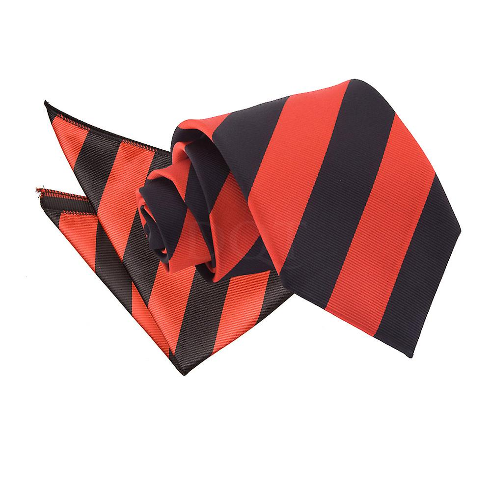 Striped Red & Black Tie 2 pc. Set
