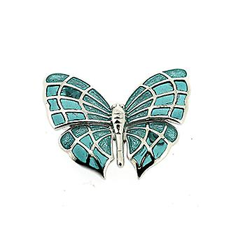 Fine Enamels Sterling Silver and Sea Green Enamel Butterfly Brooch
