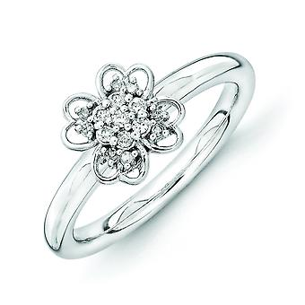 2.25mm Sterling Silver Rhodium-plated Stackable Expressions Diamond Flower Ring - Ring Size: 5 to 10