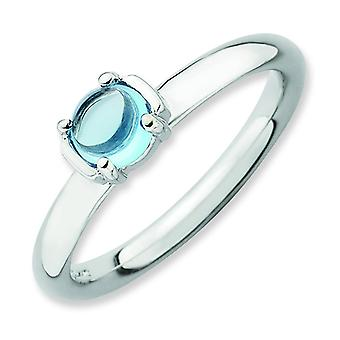 2.5mm Sterling Silver Stackable Expressions Polished Blue Topaz Ring - Ring Size: 5 to 10