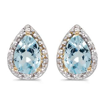 10k Yellow Gold Pear Aquamarine And Diamond Earrings