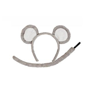 Adults Mouse Ears & Tail Animal Fancy Dress Accessory Set