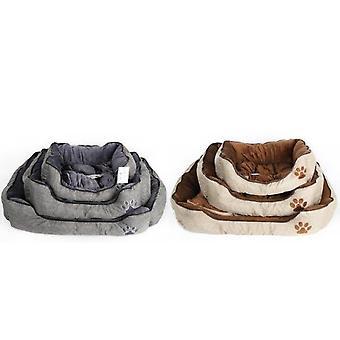 مجموعة من 3 سرير لينة الحيوانات الأليفة الكتان المنسوجة مربعة الشكل 2 ألوان متنوعة