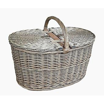 Deep Antique Wash Oval Picnic Basket