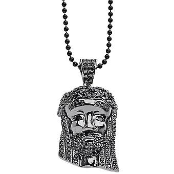Iced out bling micro pave necklace - MINI JESUS II black