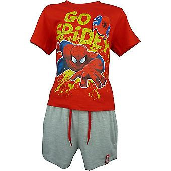 Boys Marvel Spiderman 2 Piece Set T-Shirt & Shorts OE1533