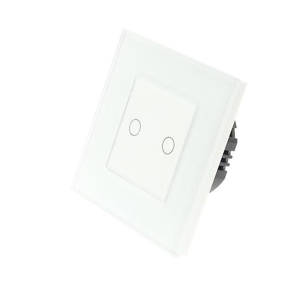 I LumoS blanc Glass Frame 2 Gang 1 Way WIFI 4G Remote Touch LED Light Switch blanc Insert