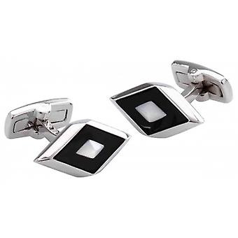 Duncan Walton Agden Onyx and Mother of Pearl Cufflinks - Black/Silver/White