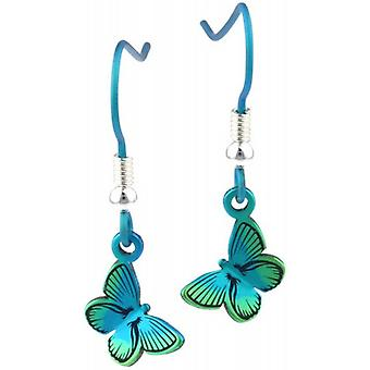 Ti2 Titanium Woodland Small Butterfly Drop Earrings - Green