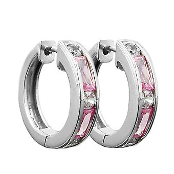 Shiny silver round hoop earrings cubic zirconia white / pink Creole earring Silver 925