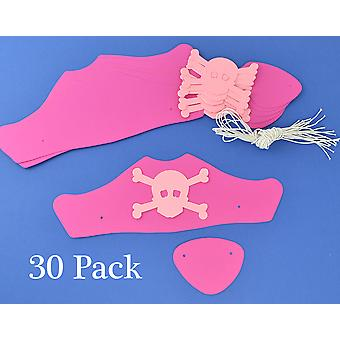 30 Pink Card Pirate Hats & Patches Craft Kit for Group Crafts