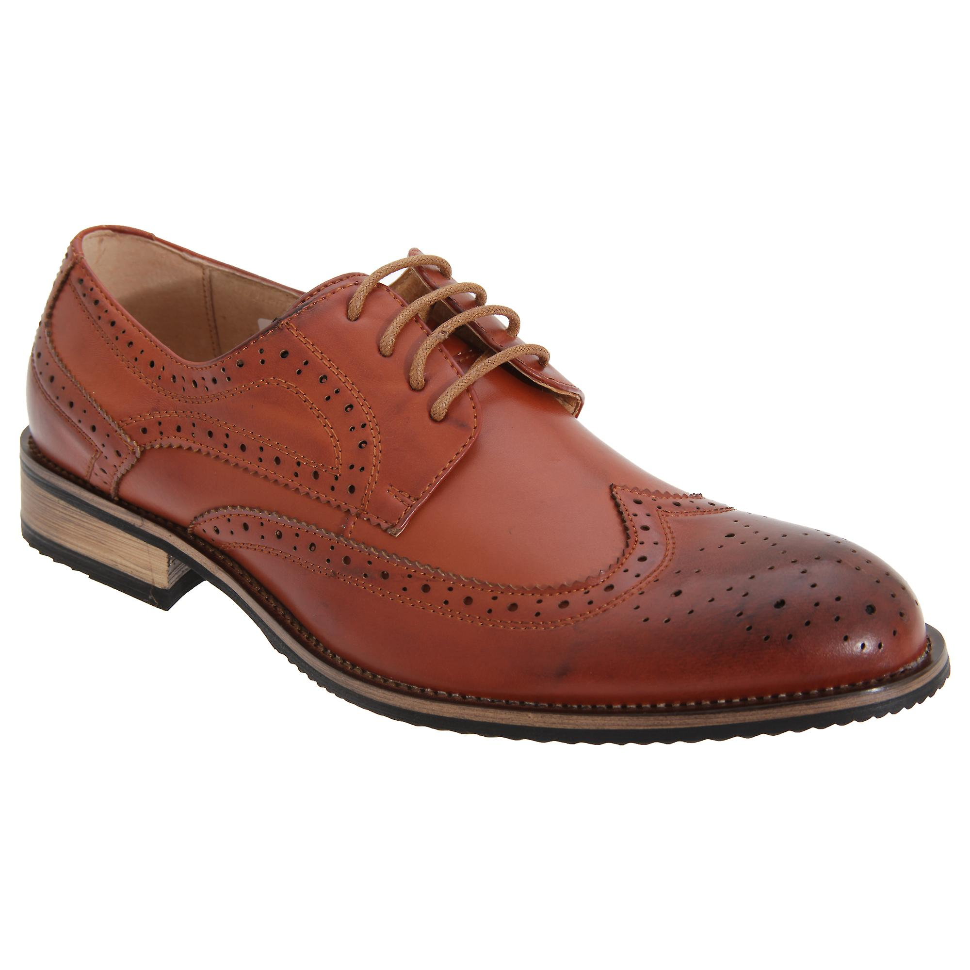 Route 21 Mens 4 Eyelet Brogue Tie Shoes