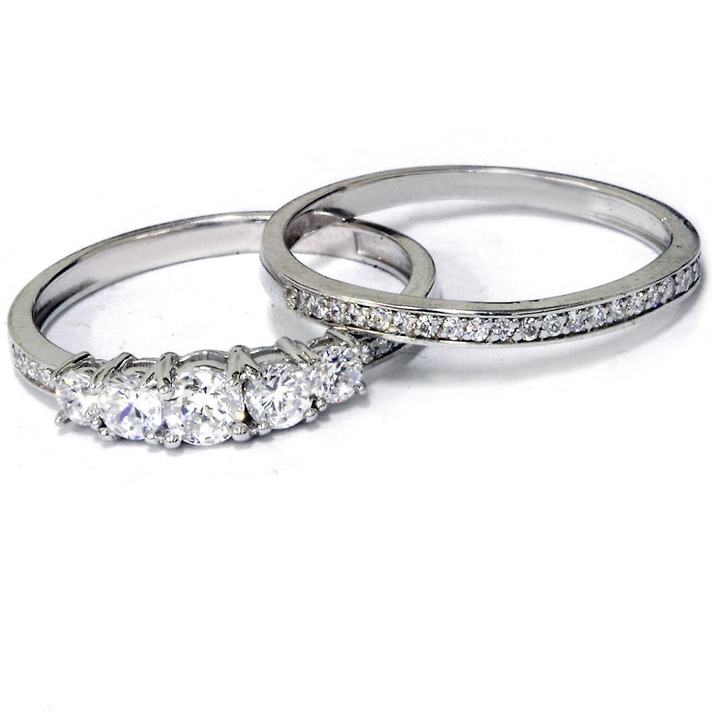 5/8 Ct Vintage Diamond Engagement Wedding Ring Set 10k White Gold