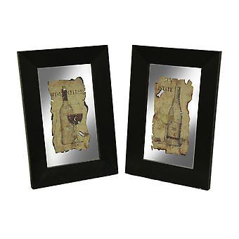 Conjunto de espejos de pared vino Vintage marco negro 2 piezas