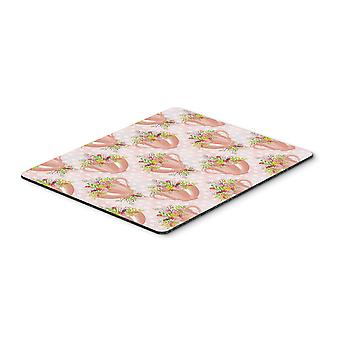 Tea Cup and Flowers Pink Mouse Pad, Hot Pad or Trivet