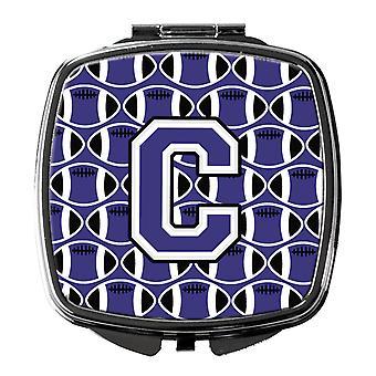 Buchstabe C Fußball lila und weiß Taschenspiegel