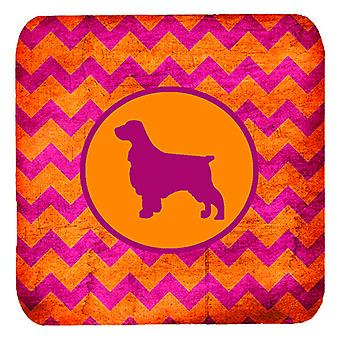 Set of 4 Field Spaniel Chevron Pink and Orange Foam Coasters