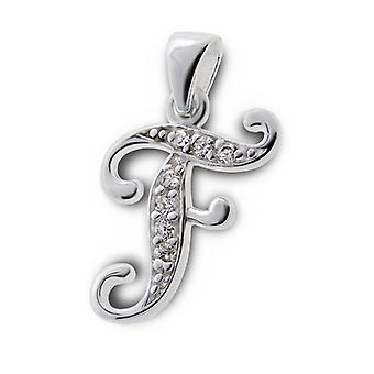 Initial F - 925 Sterling Silver Cubic Zirconia Pendants