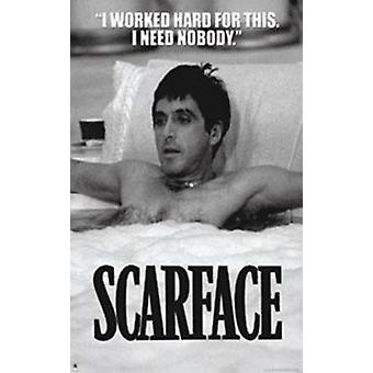 Scarface - Tub BW Poster Poster Print