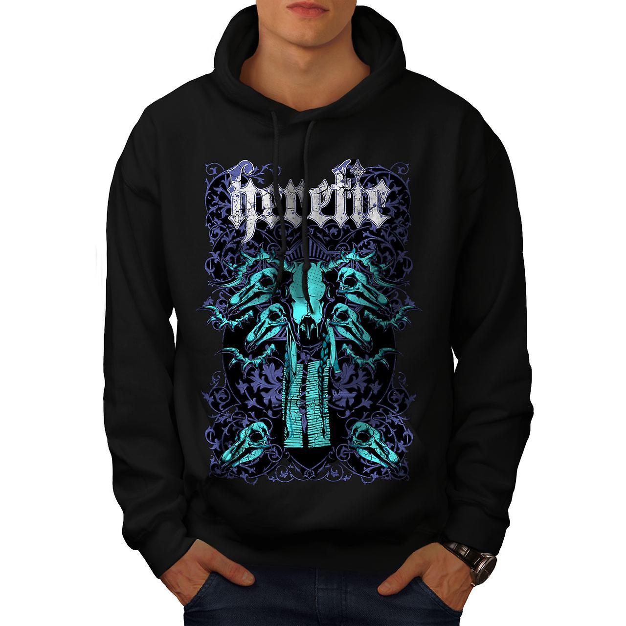 Heretic Badass Art Skull Men Black Hoodie | Wellcoda