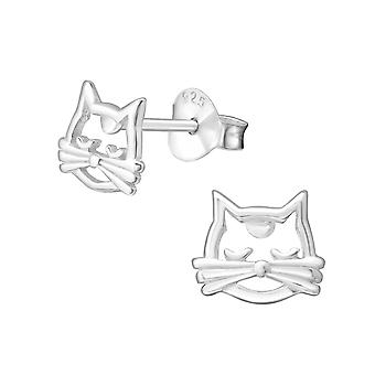 Cat - 925 Sterling Silver Plain Ear Studs