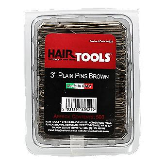 Hairtools 3 tommer Plain Pins Brown