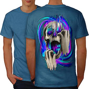 Fashion Death Color Skull Men Royal BlueT-shirt Back | Wellcoda