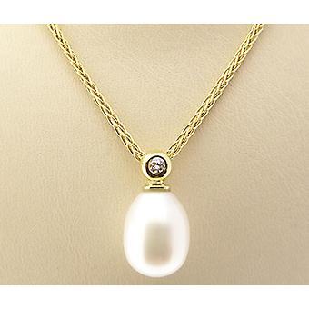 Guld hänge med pärla och diamant