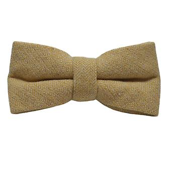 Golden Yellow Herringbone Bow Tie