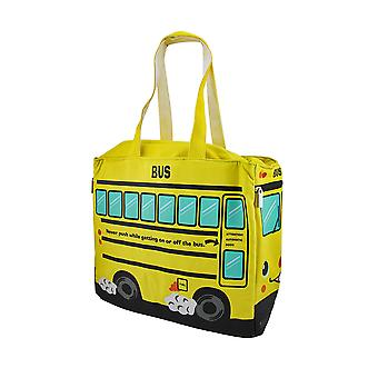 Yellow School Bus Insulated Canvas Tote Bag